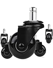 Timagebreze 5 Pcs Replacement Chair Caster Wheels 2 inch, Heavy Duty Wheels with Plug-In Stem 7/16 X 7/8 inch,Quiet & Smooth Rolling