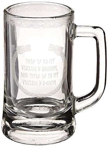 Beer History Stein (Underground Toys Vikings Glass Stein Mug - 12 oz The History Channel TV Show Drink Cup)