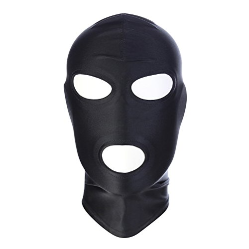 (LUOEM Full Cover Zentai Hood Mask Elastic Black Breathable Open Eyes Open Mouth Face Cover Blindfold Mask Cosplay Costume Hood Unisex Headgear Size)