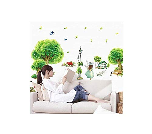 3D Wall Sticker Art Sticker Applique Mural Green Scenery Tree Wall Stickers Living Room Backdrop Wall Stickers Home Decor Papel De Parede Infantil