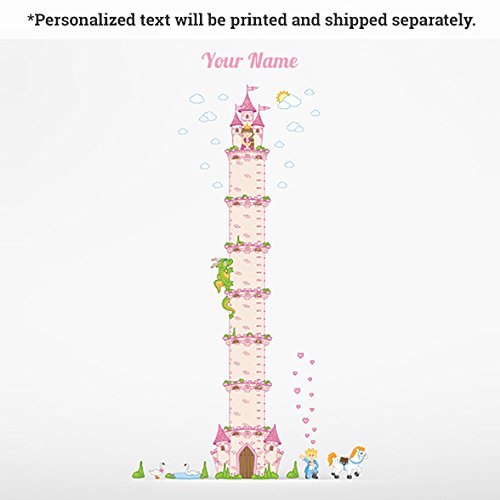 Princess Castle Personalized Growth Chart Wall Decal for Kids Room by Oliver's Labels