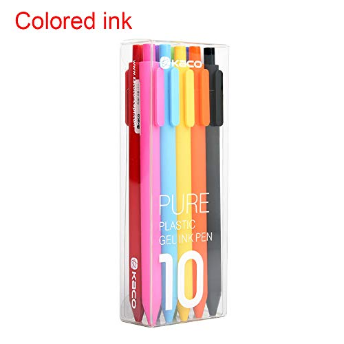 Kaco Gel Ink Pens Retractable Assorted Colors 0.5mm Extra Fine,Pack of 10