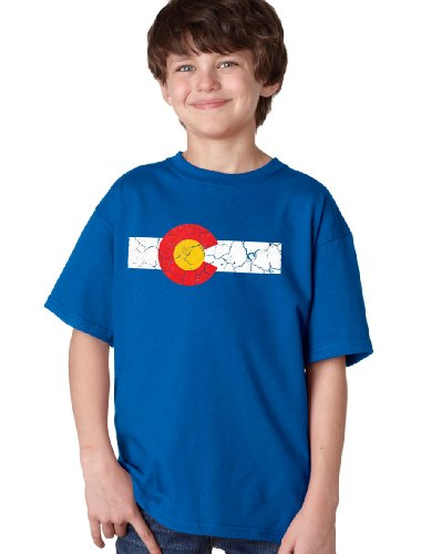 COLORADO STATE FLAG DISTRESSED Youth T-shirt / Vintage Look CO Denver Tee