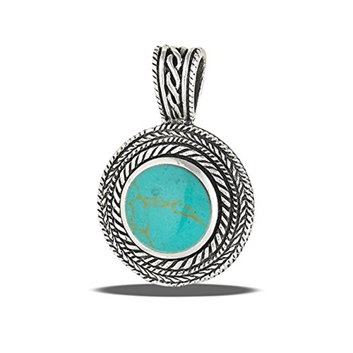Rope Circle Pendant Simulated Turquoise .925 Sterling Silver Weave Braided Charm - Silver Jewelry Accessories Key Chain Bracelet Necklace Pendants