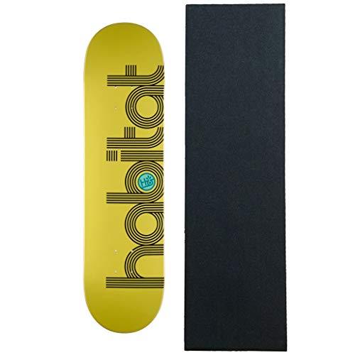 ヘロイン読み書きのできない合金Habitat スケートボードデッキ 楕円形 イエロー 8.125インチ グリップ付き