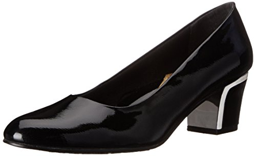 Soft Style by Hush Puppies Women's Deanna Dress Pump, Black Crosshatch Patent, 9.5 2E US Wide Dress Pumps
