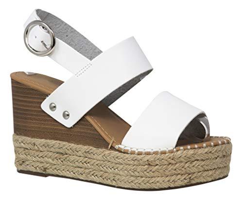 (MVE Shoes Women's Ankle Buckle Espadrille Platform Sandals, Trip White PU 8.5)