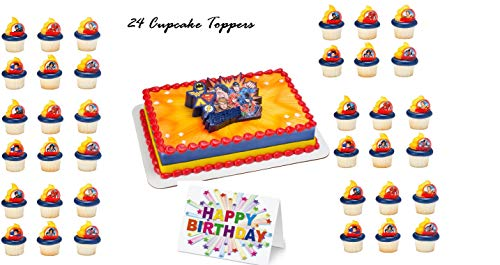 JUSTICE LEAGUE MARVEL HEROES Cake Topper Set Cupcake 24 Pieces plus Birthday Card