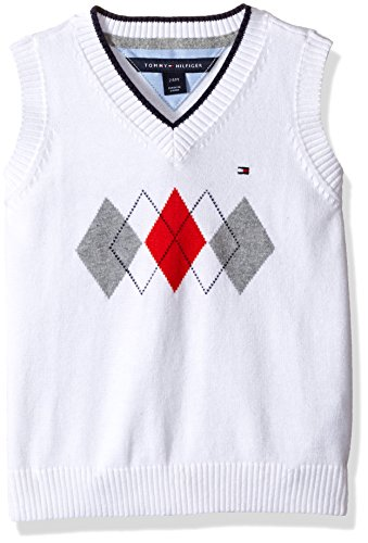 (Tommy Hilfiger Baby Boys' Henry Sweater Vest, White, 12 Months)