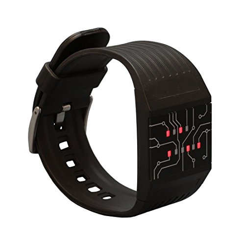 getDigital Binary Wrist Watch for Professionals with LED Lights - A Black Digital Clock That depicts The time as Binary Code