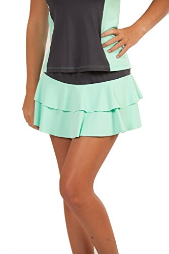 (Show No Love Women's Summer League Flounce Tennis Skirt in platinum/seafoam (size m))