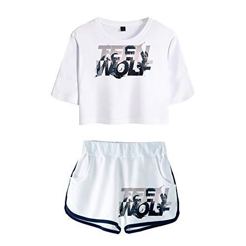 Teen Wolf Set de Ropa Slim Fit Cuello Abierto Camiseta de Manga Corta + Pantalones Cortos, Traje Sexy de Estilo Salvaje para Mujer Ropa Deportiva Mujeres (Color A03, Size S)