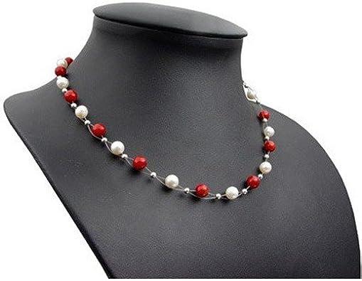 Korallen Kette Halskette Collier 925 Silber Perlenball Süßwasserperlen weiße