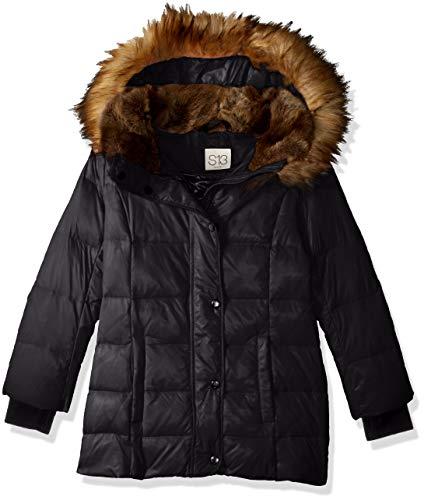 S13 Girls' Big Chelsea Gloss Down Puffer with Faux Fur Hood, Jet, 14 (Chelsea Jacket Hood)
