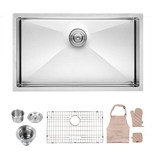 (LORDEAR Commercial 32 Inch 16 Gauge 10 Inch Deep Brushed Nickel Drop In Single Undermount Single Bowl Stainless Steel Kitchen Sink,304 Stainless Steel Bar Sink Include Dish Grid and Strainer and Apron )