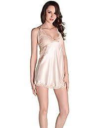 d14bbd6347 Women Nightgowns Sleepwear Faux Silk Luxurious Nightdress Female Pajamas