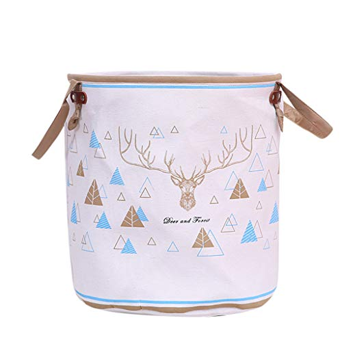 SUJING Laundry Basket Laundry Foldable Large Hamper Cylinder Collapsible Kids for Clothes and Toys Organizer Storage Clothes Holder Laundry Bag, Cotton Linen Waterproof PE Coating (B)
