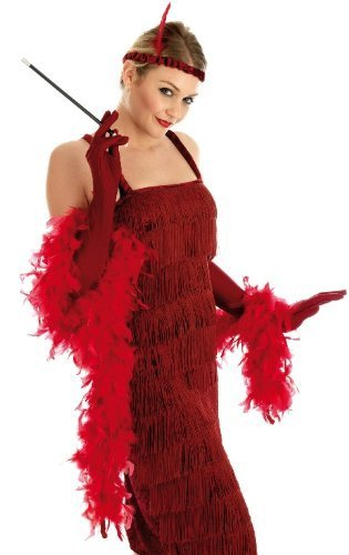 Roaring 1920S Girl Red Ladies Costume for Flapper Gangsters & Molls Fancy Dress Up Outfits by Fun Shack ()