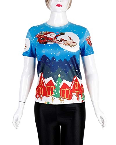 3D T Size girocollo Blue natalizia Yiyepoetry shirt Blue Color 2XL con manica stampa a corta unisex H8dAqdw