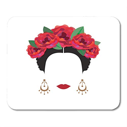Semtomn Gaming Mouse Pad Rose Portrait of Modern Mexican Spanish Woman with Flower Crowns Flamenco Hispanic White American 9.5