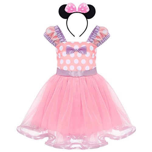 (Toddler Girl Princess Polka Dots Christmas Birthday Costume Bowknot Ballet Leotard Tutu Dress up+3D Mouse Ear Headband Y# Pink+ Light Purple 18-24 Months)