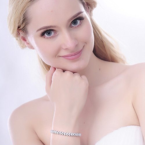 Joyfulshine Women Cubic Zirconia Crystal Tennis Bracelet White Gold Plated for Ladies Girls