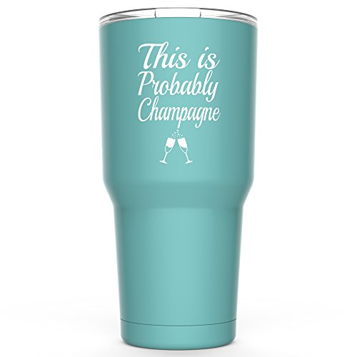 This Is Probably Champagne Stainless Steel Tumbler with Lid - 30 oz Vacuum Insulated Large Funny Travel Mug Tumblers for Hot Coffee and Cold Drink - Novelty Gifts for Men Women Mom Dad - Black (Champagne Gifts)