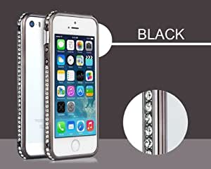 Noble Gorgeous Black Metal Bumper With Shining Diamond Phone Case For iPhone 5 5S 5G by Alexism