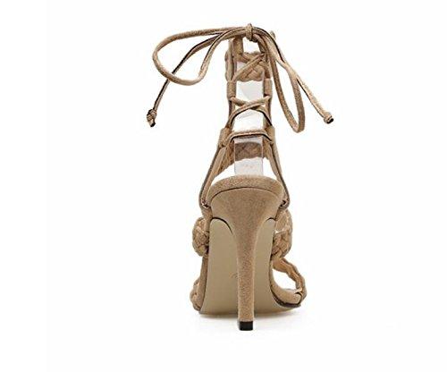 Sandali in con GAOLIXIA alti Slim scamosciata Sandali donna alto tacco neri Fashion Albicocca Compilation Tacchi New pelle Twist Apricot da Estate AaOavwq1