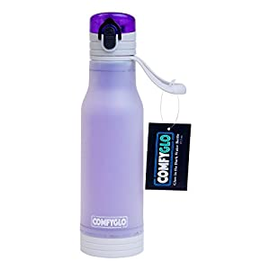 COMFYGLO Glow in the Dark Frosted Sports Water Bottle – Eco Friendly Double Layer Flip Top Plastic Design (Purple)