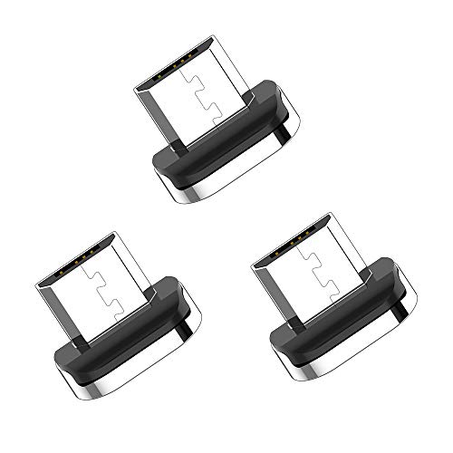 Magnetic Phone Cable Adapter Connector Tips Head for Micro USB Android Devices (3 Pack Micro Port Plug) ()