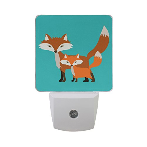 Naanle Set of 2 Animal Design Fox With Baby On Blue Background Auto Sensor LED Dusk To Dawn Night Light Plug In Indoor for Adults by Naanle