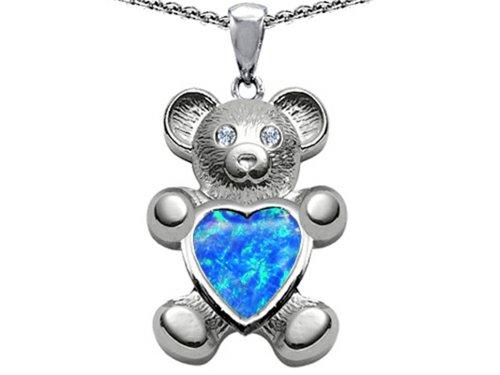 Star K Love Bear Holding Birth Month of October Heart Shape Blue Created Opal Pendant -