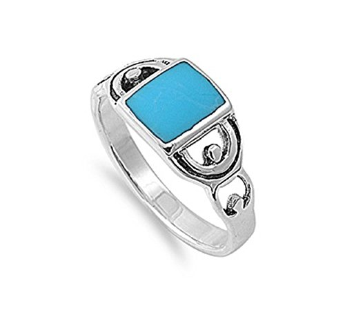 Rectangular Simulated Turquoise Stone Design Ring 925 Sterling Silver Size 8