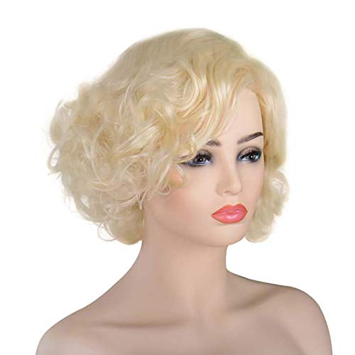 Classic Marilyn Monroe Wigs Adult Women Halloween Cosplay Party Short Blonde Curly Hair Loose Wavy Curl Flapper Golden Wig with Cap -