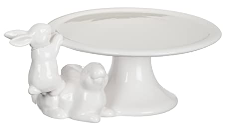 Sullivans Spring White Bunnies Ceramic Cake Plate on Pedestal 9\u0026quot;  sc 1 st  Amazon.com & Amazon.com | Sullivans Spring White Bunnies Ceramic Cake Plate on ...