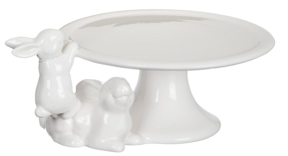 Sullivans Spring White Bunnies Ceramic Cake Plate on Pedestal 9''