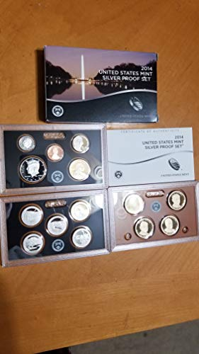 2014 U.S. MINT SILVER 14-COIN PROOF SET-With CRISPY DERP MIRROR CAMEO KENNEDY HALF DOLLAR -GOV'T SEALED WITH BOX & COA-VERN'S CARD & COIN PR