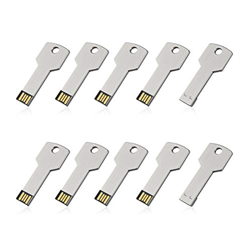 RAOYI 10Pack 16GB USB Flash Drive Metal Memory Stick Thumb Drives Jump Drive Key Shaped 16G, USB 2.0 Stick Sliver