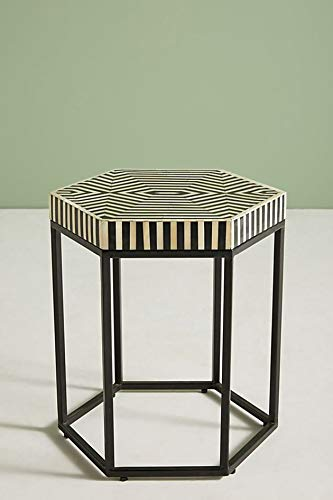 Handmade Hexagonal Bone Inlay Striped Design side table in Black with metal base (Table Side Inlay Bone)
