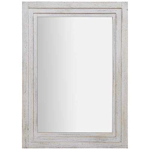 Everly Hart Collection 31x44 Distressed White Tiered Barnwood Framed Wall Mirrors,