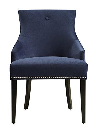 pulaski upholstered dining chair in velvet navy with chrome nailhead blue - Navy Chair