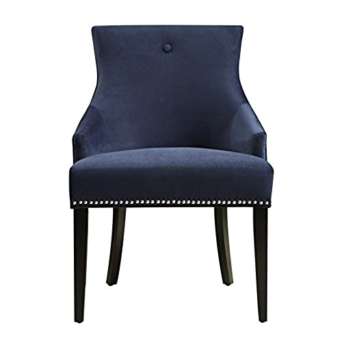 Pulaski Upholstered Dining Chair In Velvet Navy With Chrome Nailhead, Blue