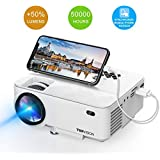 "Mini Projector, TOPVISION 2400Lux Projector with Synchronize Smart Phone Screen, Supported 1080P, 176"" Display, 50,000 Hours Led, Compatible with Fire TV Stick/HDMI/VGA/USB/TV/Box/Laptop/DVD"
