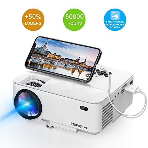 Mini Projector, TOPVISION 2400Lux Projector with Synchronize Smart Phone Screen, Supported 1080P, 176' Display, 50,000 Hours Led, Compatible with Fire TV Stick/HDMI/VGA/USB/TV/Box/Laptop/DVD