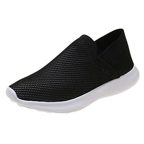 ZOMUSAR Women's Flying Weaving Slip-On Shoes Sneakers Casual Shoes Student Running Shoes Black