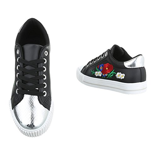 Ital-Design - Zapatillas de casa Mujer Schwarz Silber PQ-9