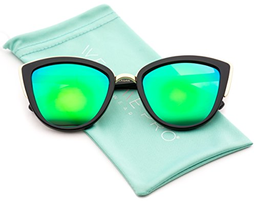 Womens Cat Eye Mirrored Revo Reflective Lenses Oversized Cateyes Sunglasses (Black / Mirror Green, - Mirrored Sunglasses Lense