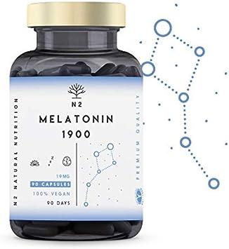 N2 Natural Nutrition Melatonina Pura 1,9 mg, 5HTP Griffonia, Vitamina B6. Alta Dosis. Facilita la Conciliación y Mejora Calidad del Sueño. Pastillas para dormir, Ansiedad, Insomnio. 90 Capsulas: Amazon.es: Salud y cuidado