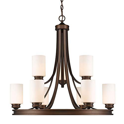 (Golden Lighting 1051-9 SBZ-OP Nine Light Chandelier Bronze)